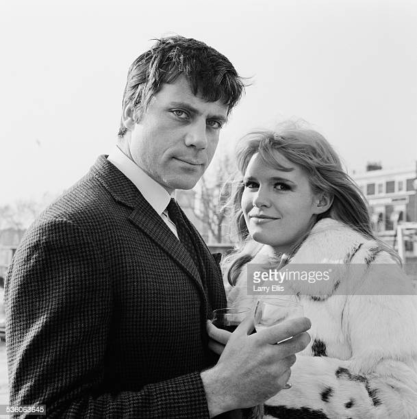 British actors Oliver Reed and Carol White at Chelsea Embankment London 12th February 1967