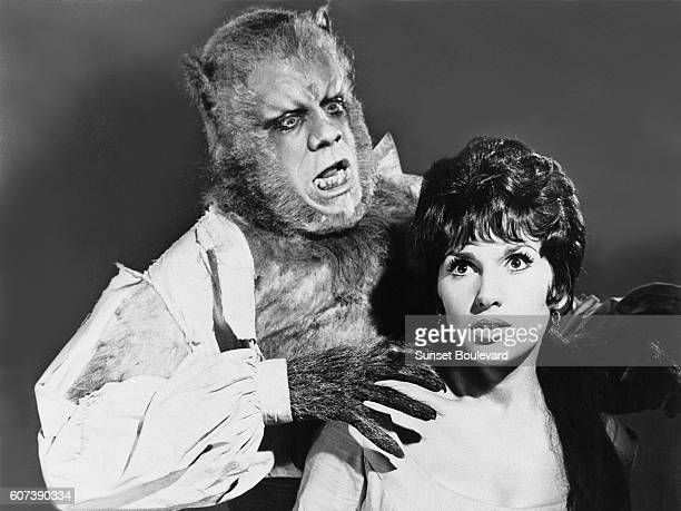 British actors Oliver Reed and Yvonne Romain on the set of The Curse of the Werewolf based on the novel by Guy Endore and directed by Terence Fisher