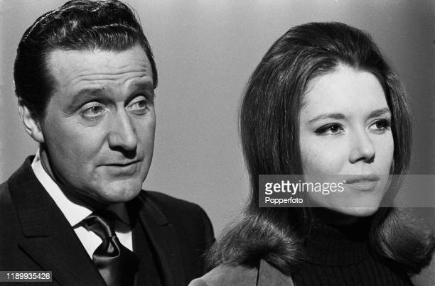 British actors Patrick Macnee and Diana Rigg, who play the roles of John Steed and Emma Peel in the ABC Television series The Avengers, posed...