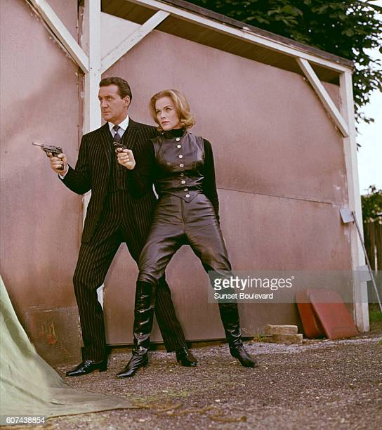 British actors Patrick Macnee and Honor Blackman on the set of the TV Series The Avengers created by Sydney Newman