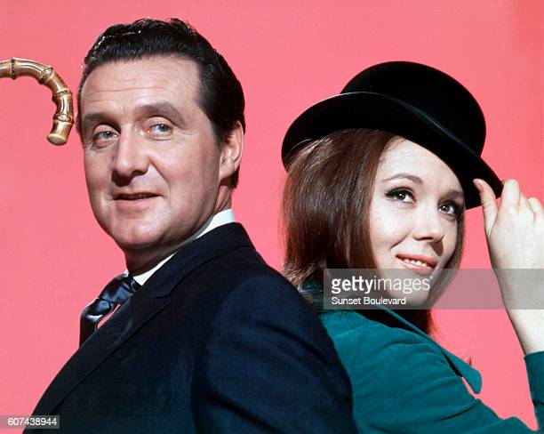 British actors Patrick McNee and Diana Rigg are John Steed and Emma Peel on the set of the TV Series The Avengers created by Sydney Newman