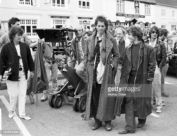 British actors Paul McGann and Richard E Grant film a scene in Stony Stratford Buckinghamshire for the movie 'Withnail I' 1986 Screenwriter and...