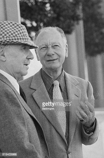 British actors Ralph Richardson and John Gielgud who have been knighted in recognition of their work relax outside the John F Kennedy Center The two...