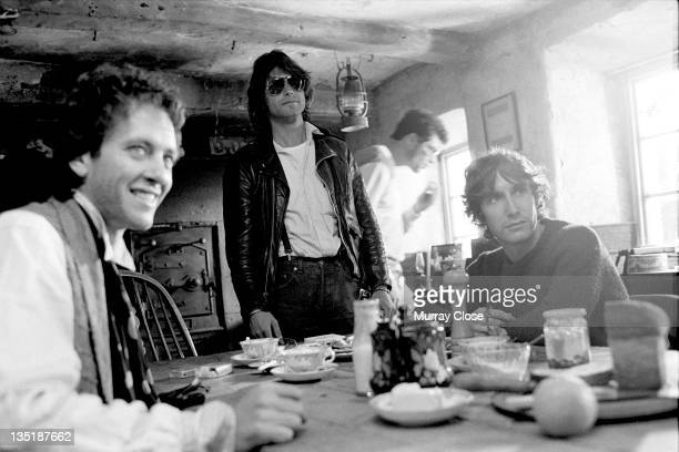 British actors Richard E Grant and Paul McGann film a scene for the movie 'Withnail I' 1986 British screenwriter and director Bruce Robinson stands...