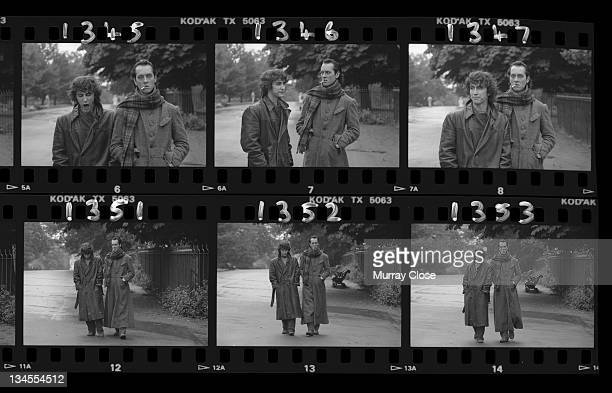 British actors Richard E Grant and Paul McGann film the parting scene for the movie 'Withnail I' in Regent's Park London 1986