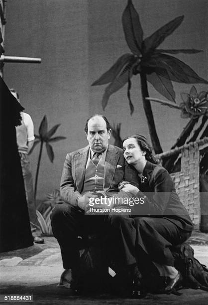 British actors Robert Morley and Joan Tetzel in rehearals for a production of Andre Roussin's comedy 'The Little Hut' London June 1952 Picture Post...