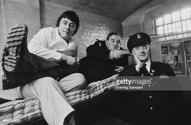 British actors Ronnie Barker Richard Beckinsale and Fulton MacKay as they appeared in the popular BBC television series 'Porridge' and in the...