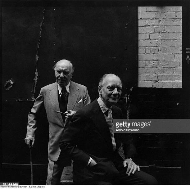British actors Sir John Gielgud and Sir Ralph Richardson pose for portrait at the Duke of York Theatre June 13 1978 in London England