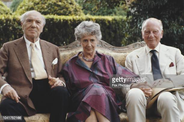 British actors Sir Ralph Richardson Dame Peggy Ashcroft and Sir John Gielgud in a publicity still for the Thames Television series 'Six Centuries of...