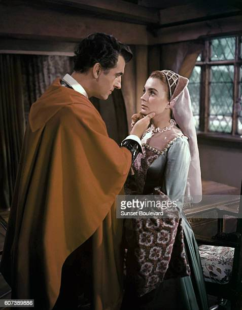 British actors Stewart Granger and Jean Simmons on the set of Young Bess directed by George Sidney
