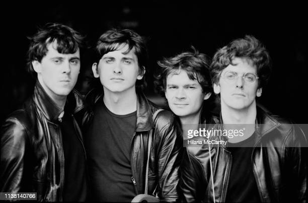 British actors Wayne Jackman, David Merrick, Martin Stone and Peter Capaldi, lookalikes of The Beatles, London, UK, 23rd July 1983.