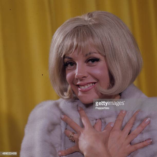 British actress Aimi MacDonald posed on the set of the television series 'Comedy Tonight Daft as a Brush' in 1967
