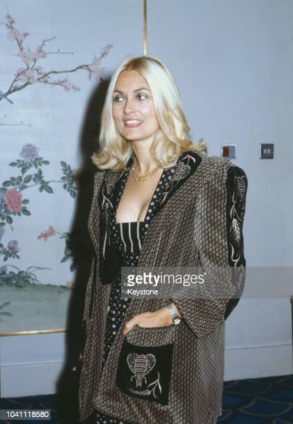 British actress Alexandra Bastedo attends a charity ball for the launch of Patrick Lichfield's new photographic book 'The Most Beautiful Women'...