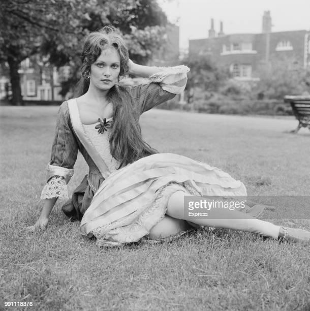 British actress Alexandra Bastedo in period costume at Greenwich park London UK 13th June 1973