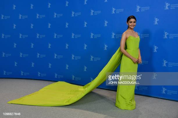 British actress Alia Bhatt poses at a photocall for the film Gully boy presented in the special gala section at the 69th Berlinale film festival on...
