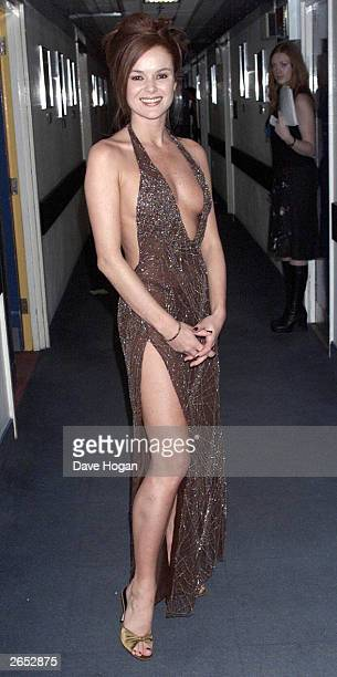 British actress Amanda Holden arrives at the TV Comedy Awards at the LWT filming studios on November 18 2000 in London