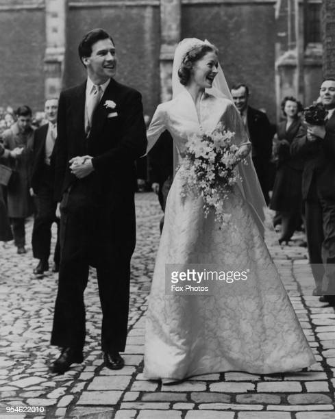 British actress and ballet dancer Moira Shearer leaves the Chapel Royal at Hampton Court Palace London with her husband broadcaster Ludovic Kennedy...