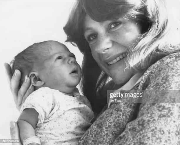 British actress and 'Blue Peter' presenter Tina Heath with her baby daughter Jemma Victoria Cooke at Queen Charlotte's Hospital in Chiswick London...
