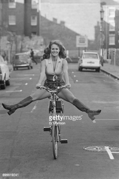 British actress and comedian Carol Cleveland riding a bike UK 24th October 1971