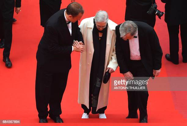 British actress and director Vanessa Redgrave arrives on May 18 2017 with her son Italian producer Carlo Gabriel Nero and former MP Lord Alf Dubs for...