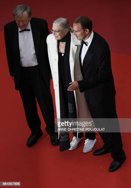 British actress and director Vanessa Redgrave poses on May 18 2017 with her son Italian producer Carlo Gabriel Nero and former MP Lord Alf Dubs as...
