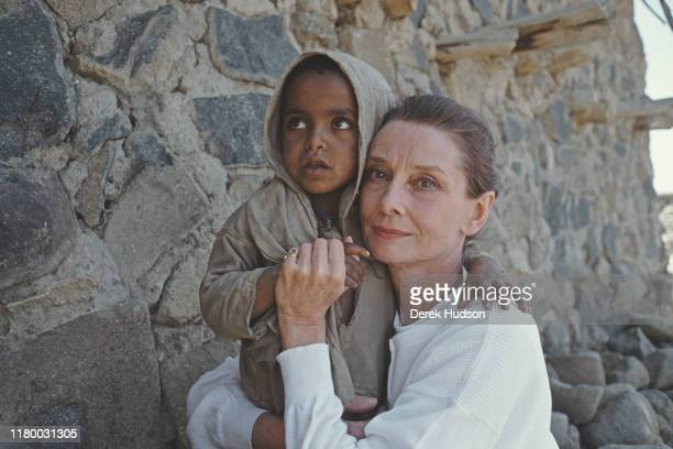 British actress and humanitarian Audrey Hepburn with an Ethiopian girl on her first field mission for UNICEF in Ethiopia 16th17th March 1988