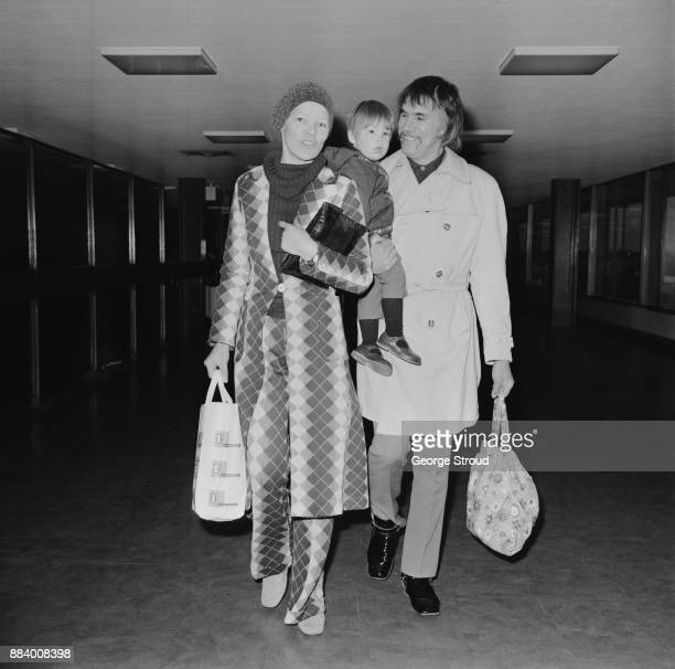 British actress and Labour Party politician Glenda Jackson with husband Roy Hodges and son Dan at Heathrow Airpot London UK 24th March 1971