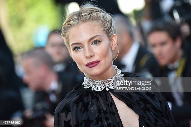 British actress and member of the Feature Film jury Sienna Miller poses as she arrives for the screening of the film 'Carol' at the 68th Cannes Film...
