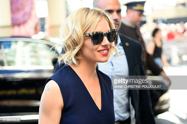 British actress and member of the Feature Film jury Sienna Miller arrives at the Grand Hyatt Cannes Hotel Martinez on the eve of the opening of the...