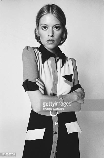 British actress and model Edina Ronay modelling a short sleeved dress with an angular motif and triangular buttons 17th August 1970