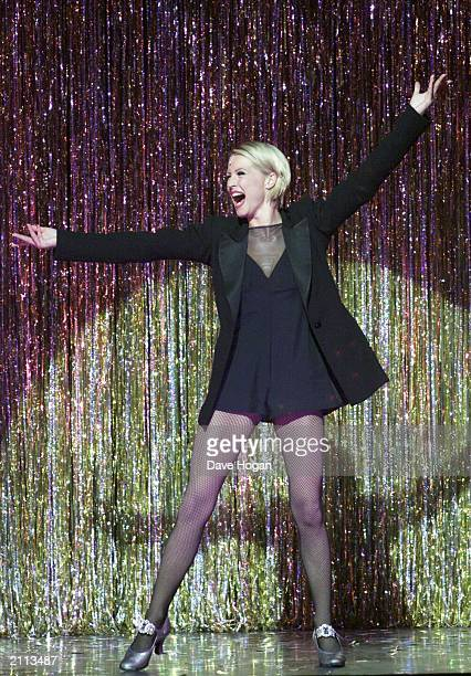 British actress and performer Denise van Outen on stage at her opening night performance in the musical Chicago in the Adelphi Theatre London on...