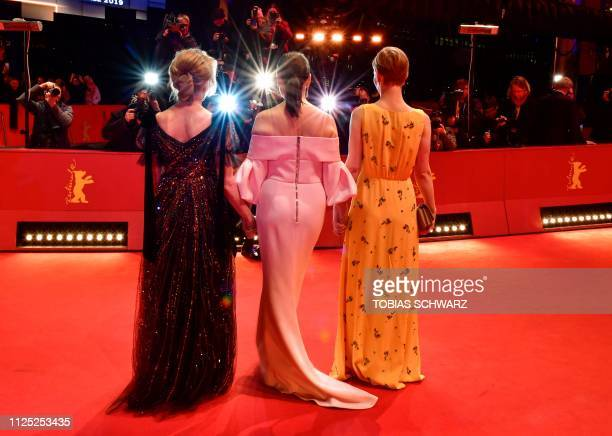 British actress and producer Trudie Styler French actress and president of the Berlinale 2019 jury Juliette Binoche and German actress Sandra Hueller...