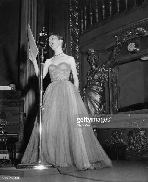 British actress and singer Petula Clark performs for servicemen around the world on the BBC, March 1951.