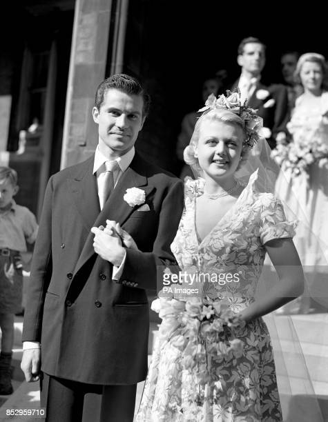 British actress Angela Lansbury with her husband Peter Shaw after their wedding at St Columba's Church London