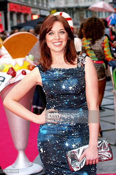 British actress Anna Nightingale poses as she arrives in London's Leicester Square for the European Premiere of the film 'Part of Me 3D' on July 3...