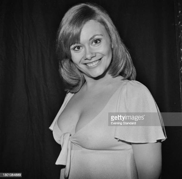 British actress Anne Aston, the 'Golden Girl' on British television game show 'The Golden Shot', UK, February 1973.