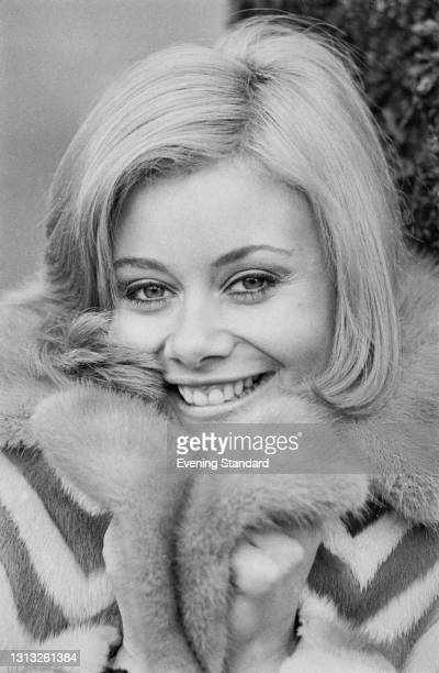 British actress Anne Aston, the 'Golden Girl' on British television game show 'The Golden Shot', UK, 23rd February 1973.