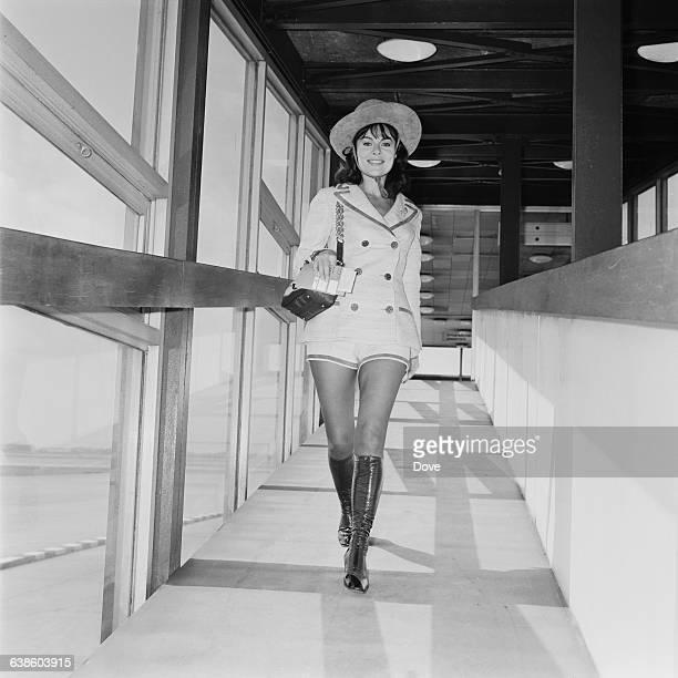 British actress Anne Heywood in hot pants at London Airport UK 8th May 1971