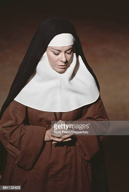 British actress Anne Heywood pictured dressed in character as the nun Virginia de Leyva on the set of the film The Lady of Monza in Rome Italy on...