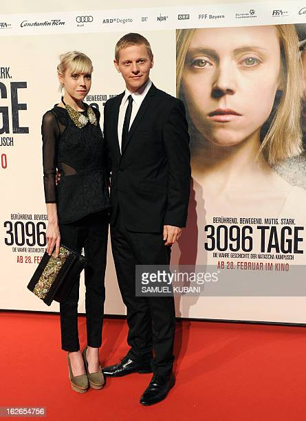 British actress Antonia CampbellHughes and Danish actor Thure Lindhardt pose for photographers as they arrive for the premiere of the film '3096...