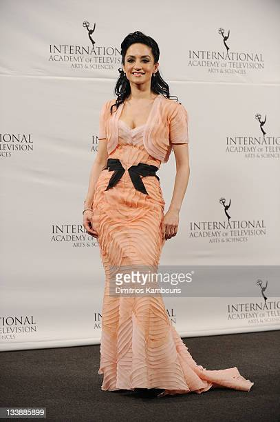 British actress Archie Panjabi poses at Nespresso Press Room at the 39th International Emmy Awards at the Hilton New York on November 21 2011 in New...