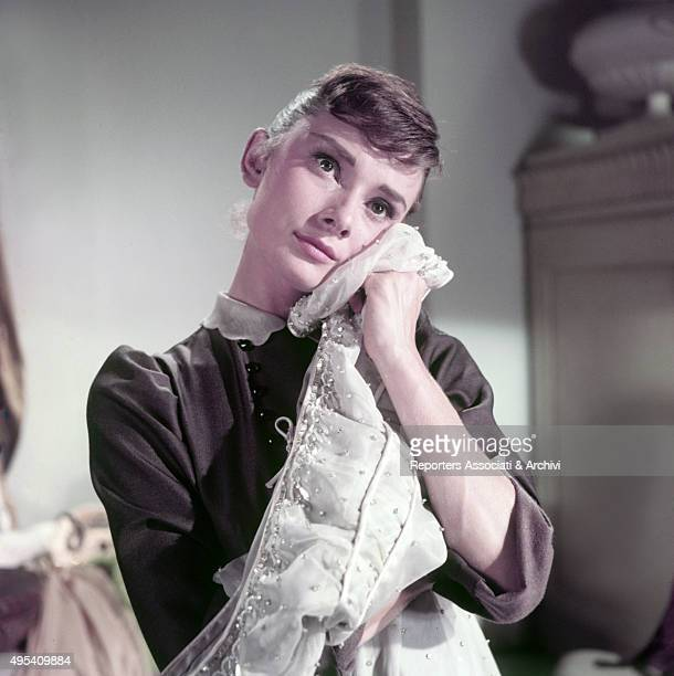 British actress Audrey Hepburn daydreaming in the film War and Peace 1955