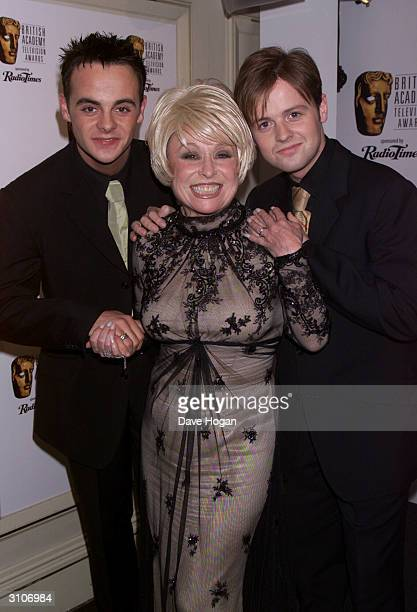 British actress Barbara Windsor and British television presenters Ant McPartlin and Declan Donnely attend the BAFTA Television Awards held at the...