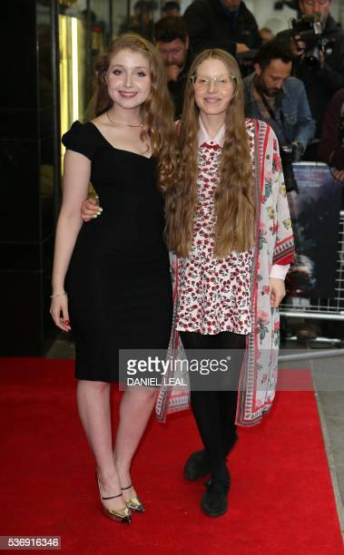 British actress Bebe Cave and sister actress Jessie Cave arrives to attend the UK premiere of the film Tales of Tales in central London on June 1...