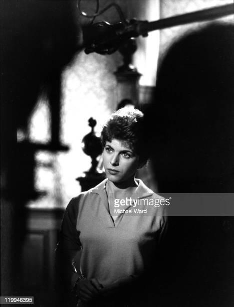 British actress Billie Whitelaw filming at Pinewood Studios, 1960.