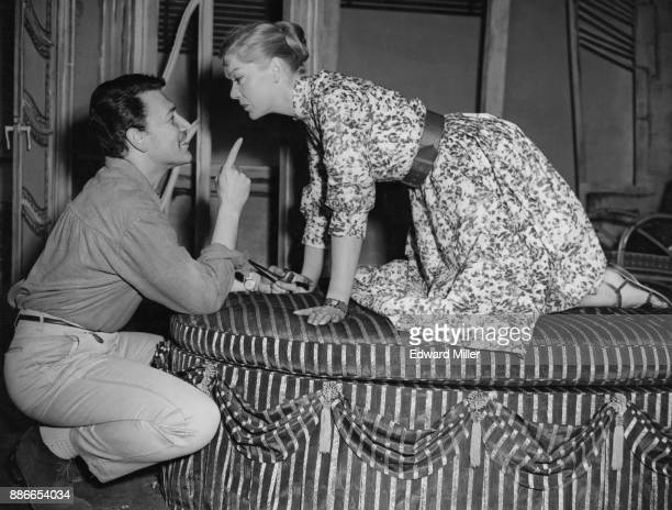 British actress Brenda Bruce with actor Peter Wyngarde during rehearsals for the play 'No Laughing Matter' by Armand Salacrou at the Arts Theatre...