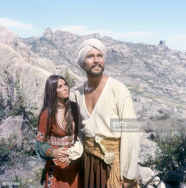 British actress Caroline Munro and American actor John Phillip Law on the set of The Golden Voyage of Sinbad directed by Gordon Hessler