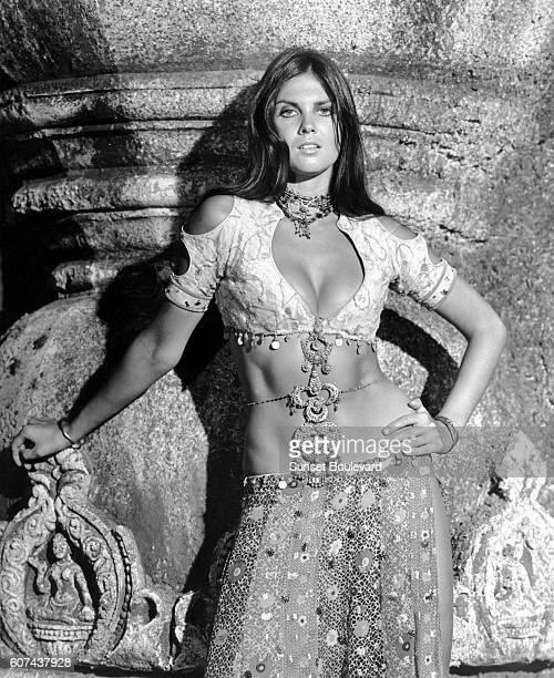 British actress Caroline Munro on the set of The Golden Voyage of Sinbad directed by Gordon Hessler