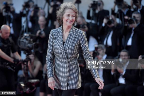British actress Charlotte Rampling arrives at the award ceremony of the 74th Venice Film Festival on September 9 2017 at Venice Lido / AFP PHOTO /...