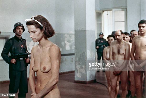 British actress Charlotte Rampling on the set of Il portiere di notte directed by Liliana Cavani